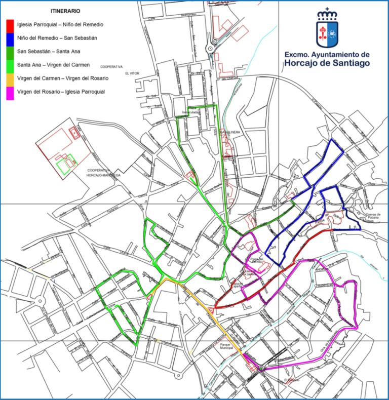 mapa puntos a seguir ruta Vítor Horcajo de Santiago